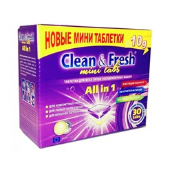 "Таблетки для ПММ ""Clean&Fresh"" Allin1  mini tabs (midi) 30 штук"