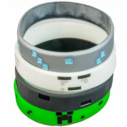Pixellated Video Game Style Silicone Wristbands - 8 Pack Party Favor Set (2 of each design) - Creeper, Diamond, Ghast, Wither Skeleton