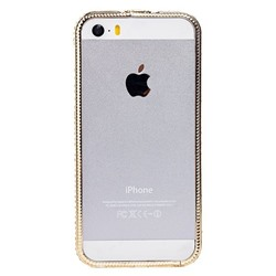 "Чехол-бампер SunArt для ""Apple iPhone 5/5S/SE"" (gold) (03) инкруст.стразами"
