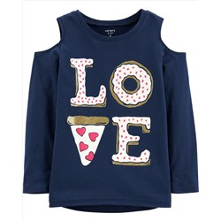 Love Pizza Cold Shoulder Tee