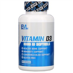EVLution Nutrition, Vitamin D3, 5,000 IU, 120 Softgels