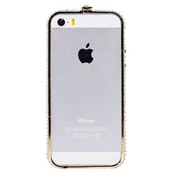"Чехол-бампер SunArt для ""Apple iPhone 5/5S/SE"" (gold) (01) инкруст.стразами"