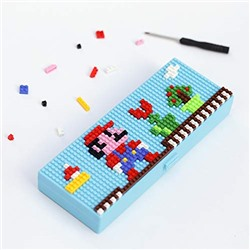 Kid Children Student Intelligence Toys Plastic Assembling Puzzle Fancy Stationery Case Pen Box Pencil Holder Size 190 70MM (Mario) Storage Box