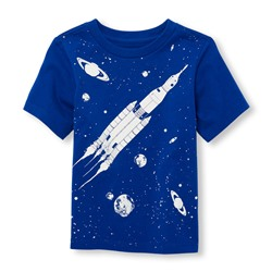 Toddler Boys Short Sleeve Glow-In-The-Dark Spaceship Graphic Tee