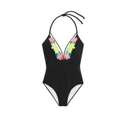 EMBROIDERED STRAPPY PLUNGE ONE-PIECE